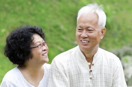 Asian Senior Couple talking at outdoor park photo