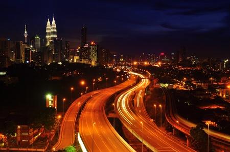 highway night: Kuala Lumpur is the capital city of Malaysia.