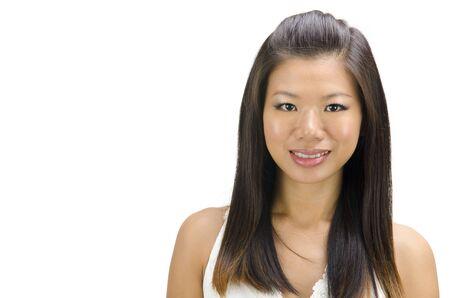 plan �loign�: Belle �pouse asiatique isol�e sur fond blanc Banque d'images