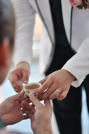 Chinese Wedding Tea Ceremony, soft focus. photo