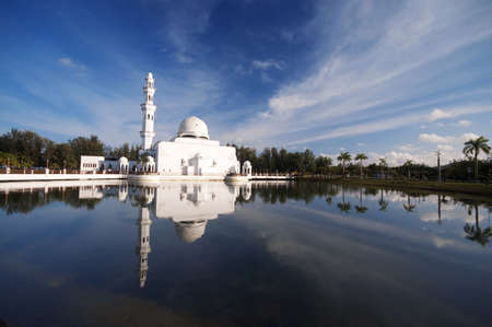 known: Mosque Tengku Tengah Zaharah or also known as Floating Mosque in Kuala Terengganu, Malaysia with reflection.