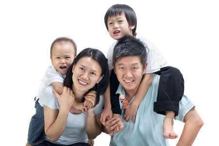 piggyback ride: Happy Asian family on white background Stock Photo