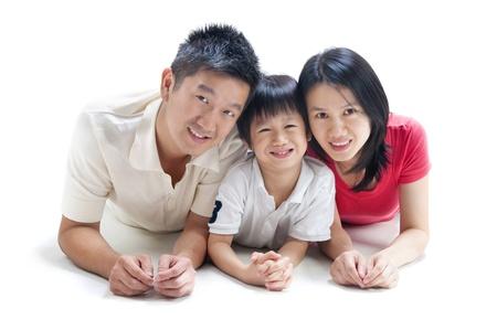 asian family fun: Happy Asian family on white background Stock Photo