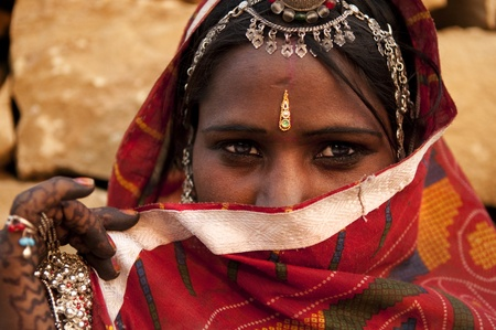 gypsies: Traditional Indian woman covered her face