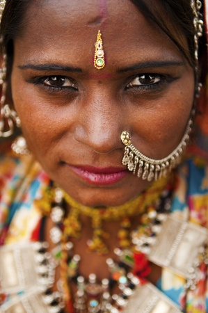 Portrait of a India Rajasthani woman Stock Photo - 10060424