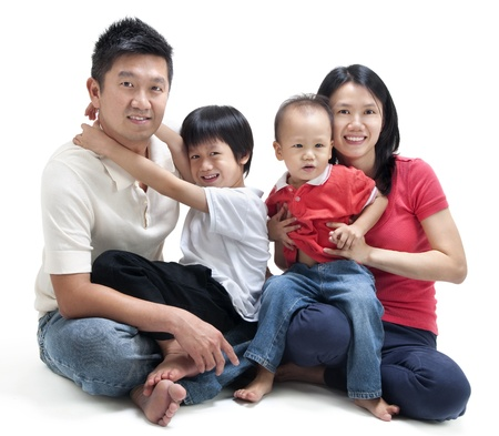 asian wife: Happy Asian family sitting on white background