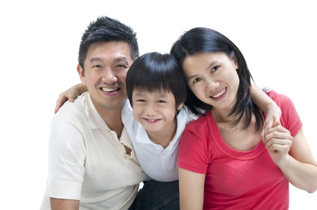 family asia: Happy Asian family on white background Stock Photo