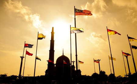 Silhouette of Putra Mosque in sunset. Putrajaya, Malaysia. Stock Photo