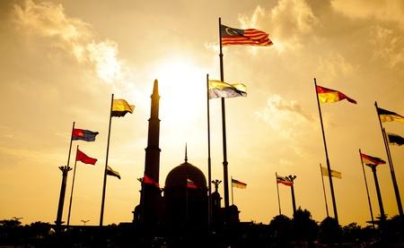 malaysia culture: Silhouette of Putra Mosque in sunset. Putrajaya, Malaysia. Stock Photo