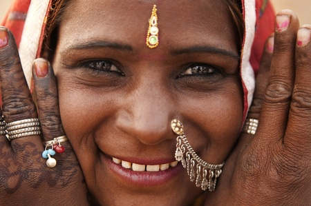 bindi: Portrait of a India Rajasthan woman with her henna tattoo