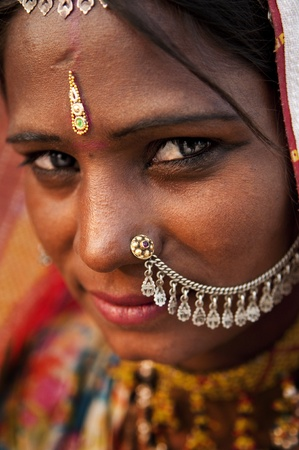 poor woman: Portrait of a India Rajasthani woman