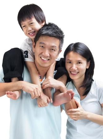 Happy Asian family on white background Stock Photo - 10143523