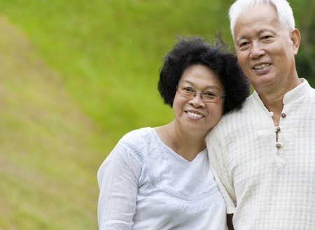 senior asian: Asian senior couple at outdoor Stock Photo