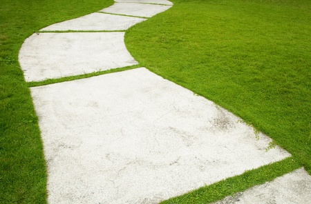 Garden path with grass growing up between the stones Stock Photo - 10460385