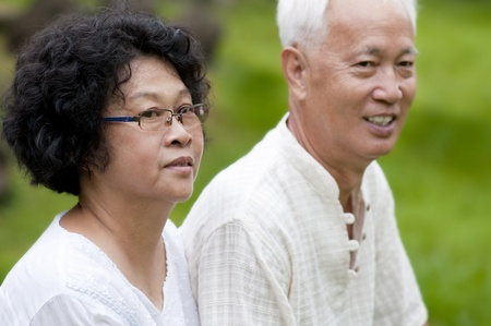 Asian senior couple at outdoor photo