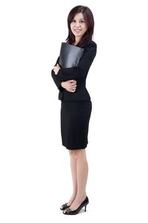 Business-Frauen halten Datei stehen auf weißem Hintergrund