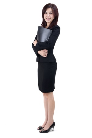 body work: Business Women holding file standing on white background