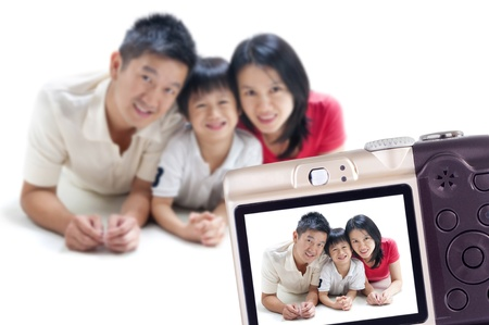 family picture: Taking photo of my family Stock Photo