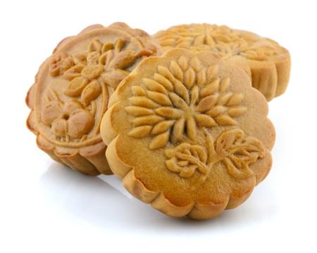 Chinese Mooncake isolated over white background photo