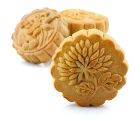 moon cake festival: Chinese Mooncake over white background.