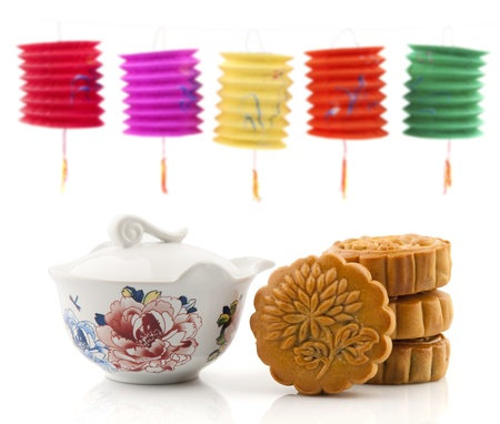 Moon Cake and Tea Set of Mid Autumn Festival, paper lantern as background photo