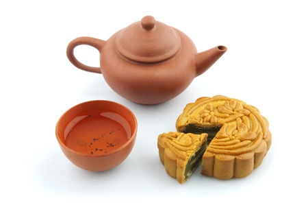 moon cake festival: Moon Cake and Tea Set of Mid Autumn Festival Stock Photo