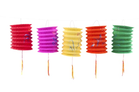 Chinese paper lanterns on white background
