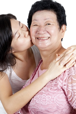 Daughter kissing to her mum. photo