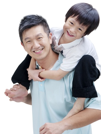 shoulder ride: Father and son on white background Stock Photo