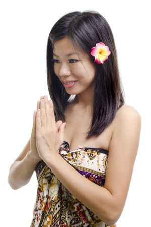 adult indonesia: Thai woman in a traditional wellcoming gesture