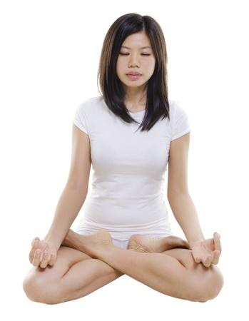 meditation isolated white: Woman in yoga, Lotus pose (Padmasana), on white background Stock Photo