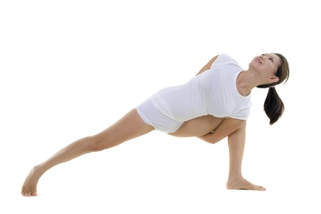 side pose: Woman in yoga, Side Angle Pose Sequence (Nirlamba Parsvakonasana), on white background