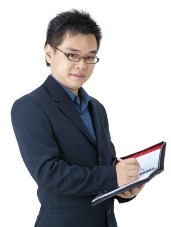 他的日記亞洲執行 版權商用圖片