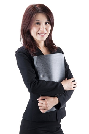Business Woman holding file standing on white background Stock Photo - 11012263