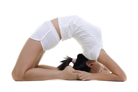 Woman in yoga, Pigeon Posture (Kapotasana), on white background photo
