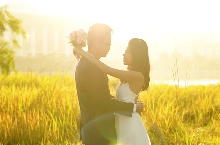 surrounding: Outdoor Bride and Groom, surrounding by natural morning golden sunlight.