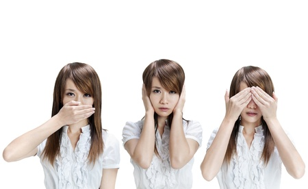 hand covering eye: Woman showing different gesture on white background
