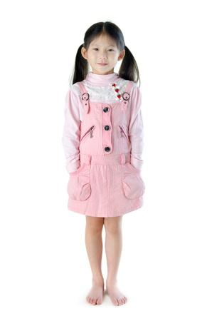 ponytail: Full body Asian girl standing on white background Stock Photo