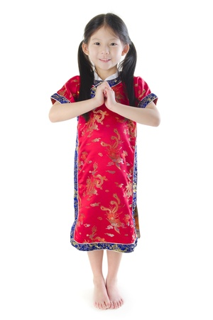 one year: Little oriental girl wishing you a happy Chinese New Year