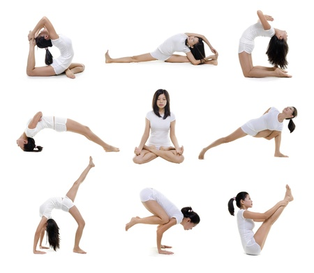 practise: Collection of woman in yoga on white background
