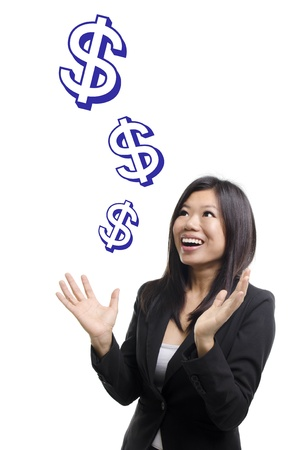 Money sign falling from sky. Investment concept. photo