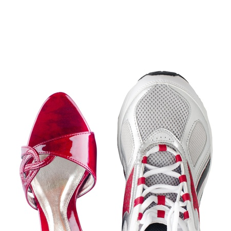 Womens and mens shoes isolated on white background photo