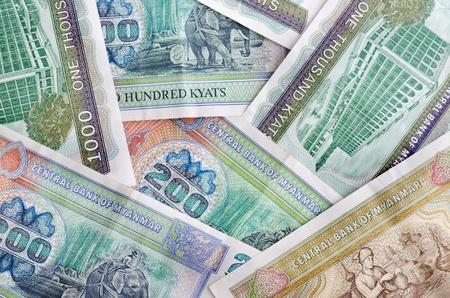 third world economy: Myanmar Kyats bank notes background Stock Photo
