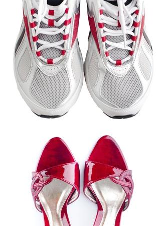Women s shoes: Phụ nữ và nam giới giày cô lập trên nền trắng