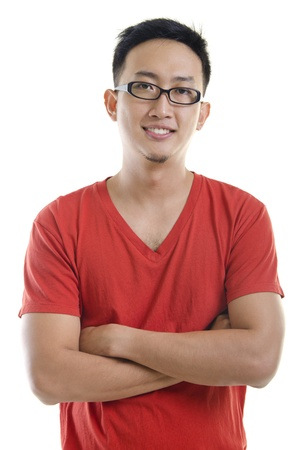 malay boy: A young asian male adult on white background