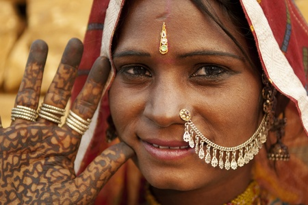 Portrait of a India Rajasthan woman with her henna tattoo Stock Photo - 12386405