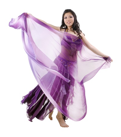 Asian Belly dancer on white background photo
