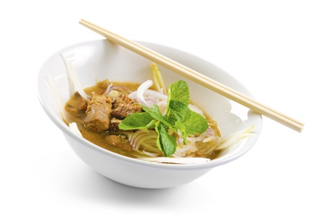 Famous Malaysian Spicy Soup Noodles, Penag Asam laksa photo