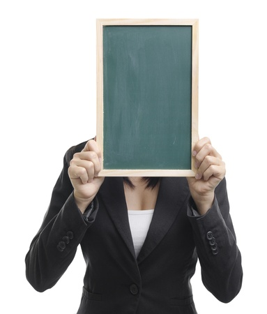 Concept photo of Asian woman holding a blank blackboard, covering her face. photo