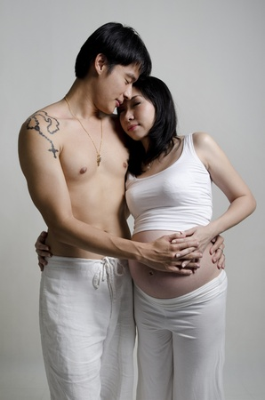 Asian couple, 8 months pregnant women standing with husband. photo